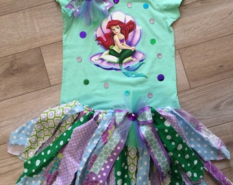 Disney Little Mermaid Ariel inspired scrappy tutu set made to order in your size