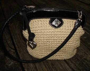 Brighton Roxanne Straw & Leather Top Handle Bag Purse, Handbag