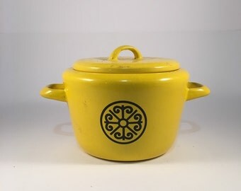 Retro Yellow Enamel Stock Pot