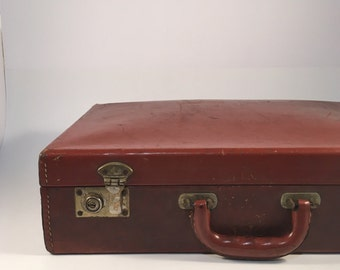 Rustic Worn Red Brown Leather Briefcase