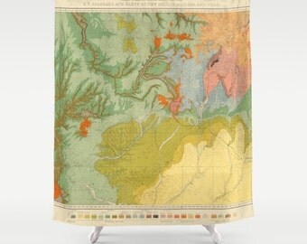 Southwest Map Shower curtain  - The New Southwest Style - travel decor home - Bathroom - maps, terracotta, green, peach, gold