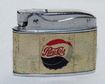 Vintage RARE 1950s PEPSI COLA Soda Refreshment Advertising Petrol Lighter - Penguin Superlative Japan