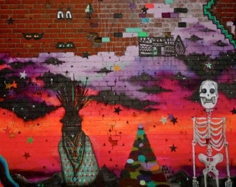 Street Art - Photography - Wall Decor - Vibrant Skeleton