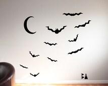 Halloween Wall Decal. Bats and moon. Moon wall decal. Living Room decor. Wall sticker. Home decor decals. Seasonal Decals.