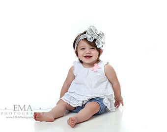 Silver Messy Bow, Silver Headband, Silver Bow Headband, Metallic Silver Headband, One Size Fits Most, Silver Birthday Headband, Silver Bow