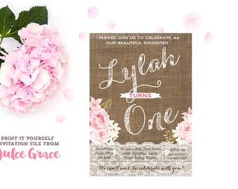 girl 1st birthday invitations, 1st birthday invitations printable, boho chic birthday invites, pink gold birthday invitations, shabby style