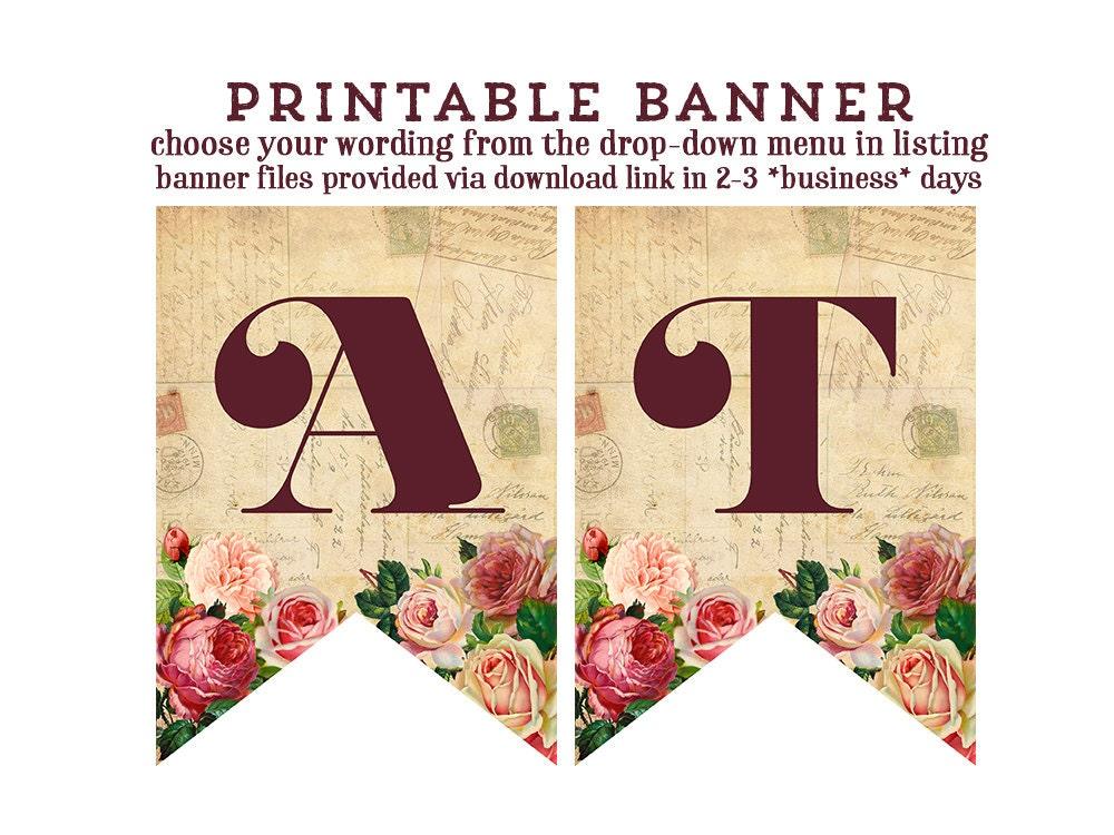 Printable Vintage Birthday Banner ~ Birthday banner vintage love letters printable