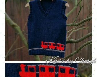 Boys Train Tanktop Jumper Sweater Baby Childs 0-6mths 6-12mths 1-2yrs 2-3yrs