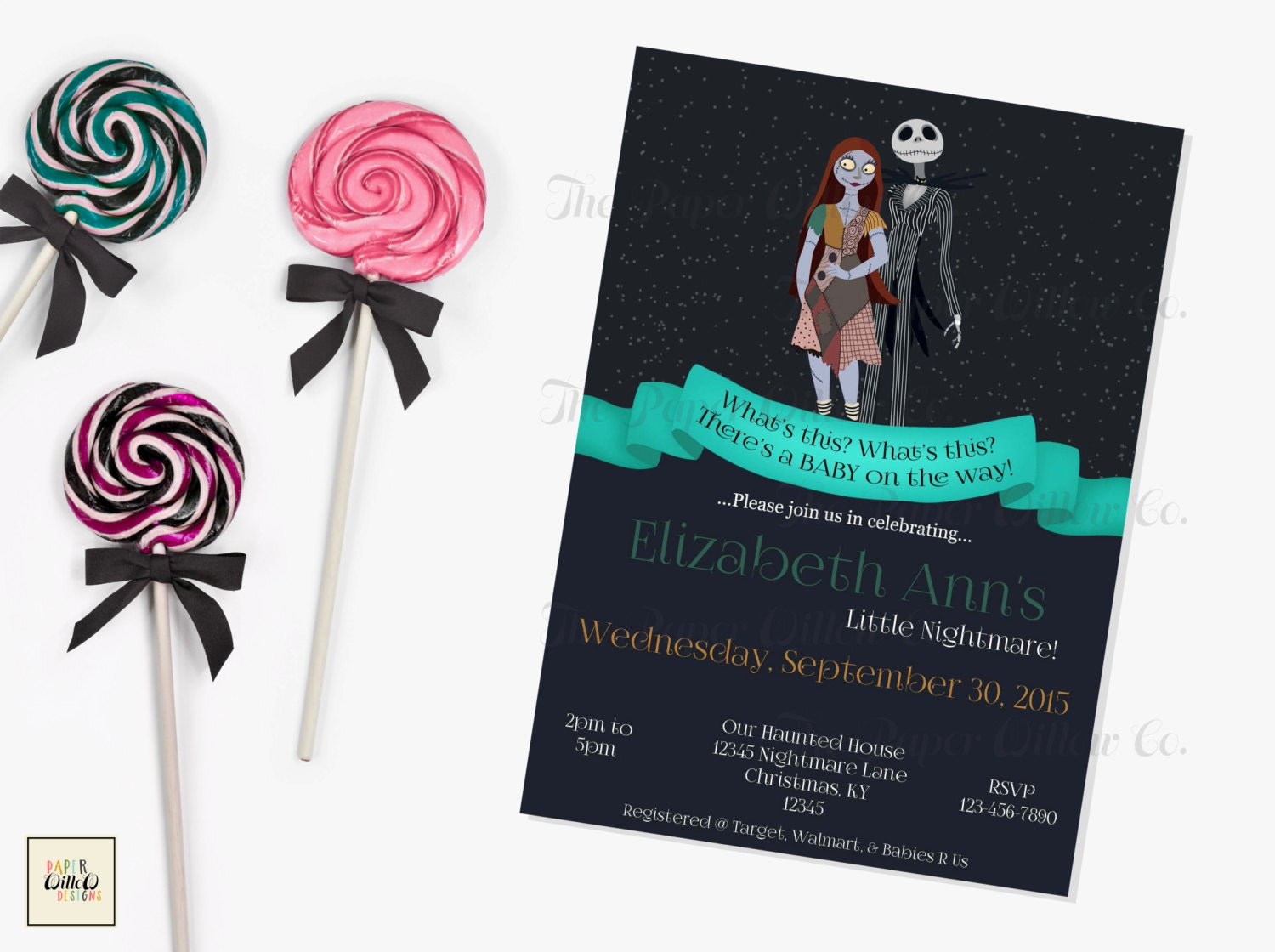 nightmare before christmas baby shower by paperwillowdesigns