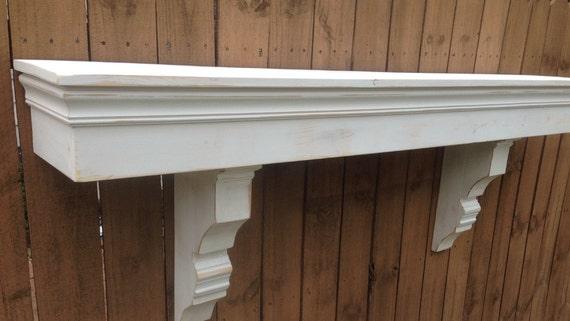 Floating Mantle Shelf Distressed White Floating Shelf Shabby
