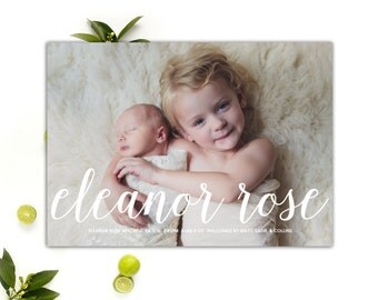 Baby Boy or Baby Girl Birth Announcement // Baby Announcement Printable // 5x7 Printable Photo Birth Announcement // The Eleanor