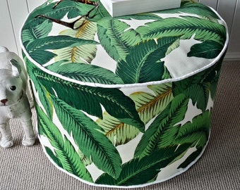 Indoor/Outdoor Tommy Bahama Pouf / Floor cushion/ Ottoman Cover Green Tropical  Palm