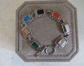Sterling Silver Multi-Stone Toggle Bracelet