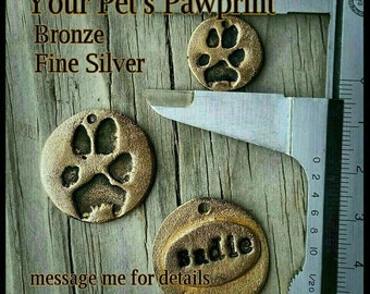 Memorial Paw Print Custom Made - Bronze - Small or Large
