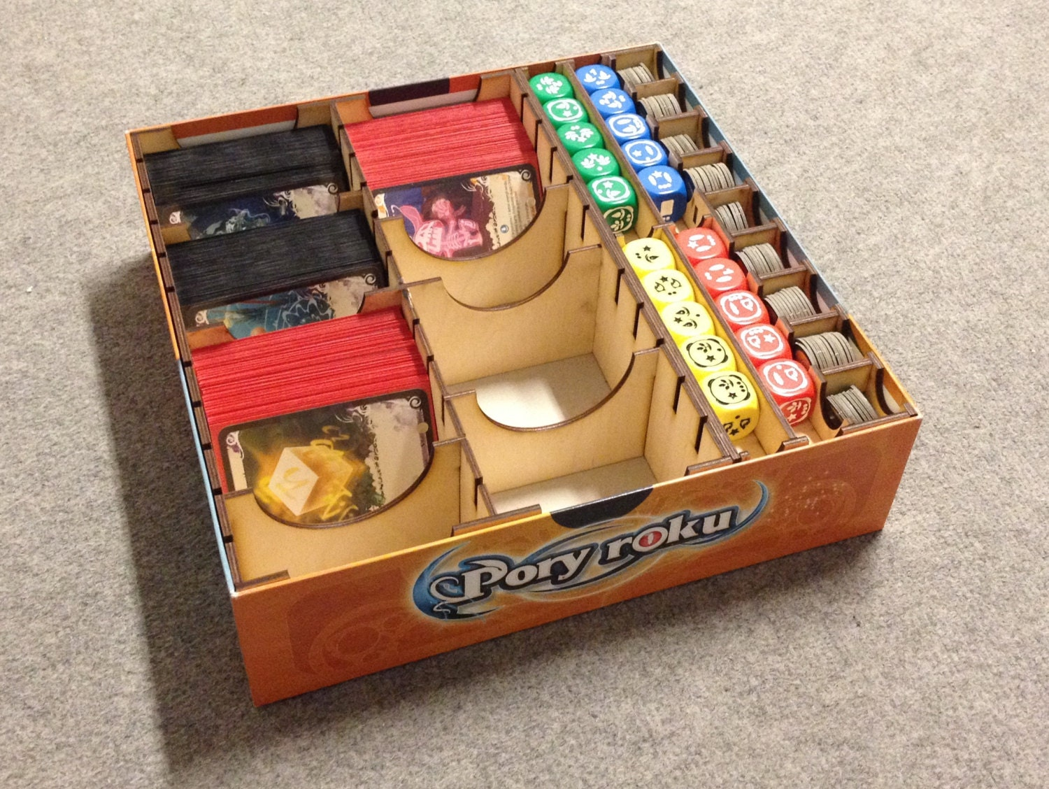 Seasons board game wood insert to store all components for Board game storage solutions