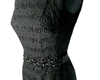 Vintage Black Embroidered Lace Dress, Clothing
