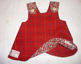 Details about  Reversible Harris Tweed/Liberty of London Pinafore dress age 6-12 months Handmade
