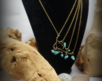 Winter: collar necklace boho unbalanced & row of bronze-colored, branch and howlite turquoise chips