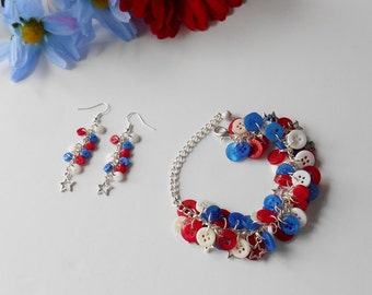 American Flag Gift Set, Matching Bracelet and Earrings,  Celebration Wear, Love America, Superhero Fan, United Accessories, Creative Gift