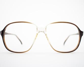 80s Vintage Eyeglass Frame | Oversized Clear Brown Glasses | NOS 1980s Glasses Frames - Pisa 9912