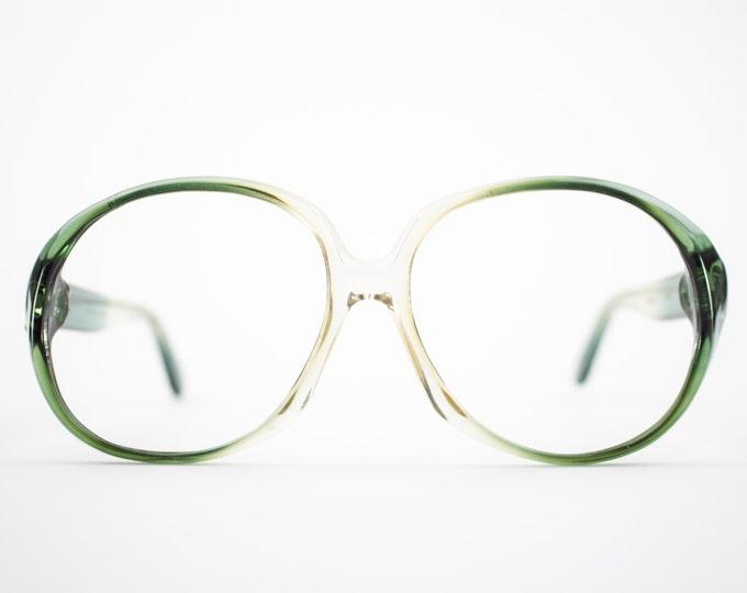 Vintage 70s Eyeglass Frame | Clear Green Round Oversized Glasses | NOS 1970s Eyewear | Vintage Deadstock Eyeglasses - Atlanta 3