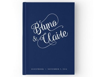Navy Guest Book, Custom Wedding Guestbook, Custom Wedding Guest Book, Navy Wedding Guest Book, GB 009