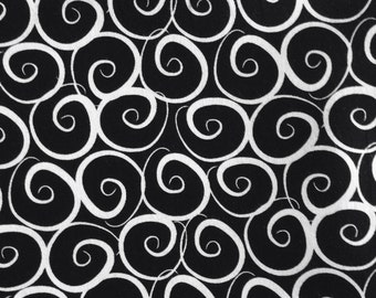 One Half Yard of Fabric Material - Black and White Spiral Waves