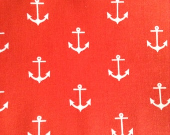 One Half Yard of Fabric Material - Anchors on Coral