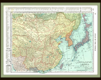 1911 Map of China, Japan, and Korea vintage map- With Japan, Korea, and Manchuria on reverse (second pic)- Historical, reference, for decor