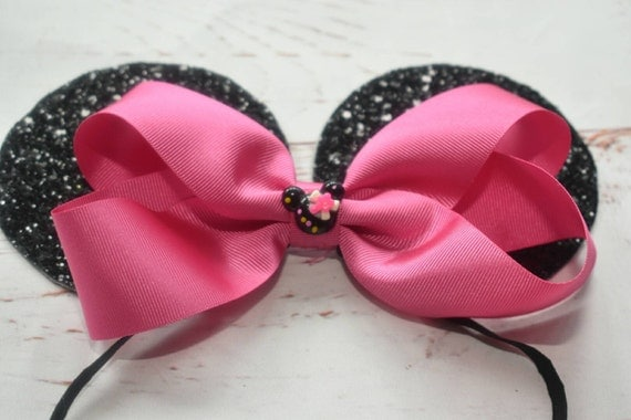 Pink and black glittery minnie mouse ears on elastic band - Baby / Toddler / Girls / Kids Headband / Hairband / Hair bow
