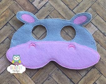 Hippo Mask, Kids Dress Up Mask, Hippo Costume Mask, Wool Blend Mask, Felt Hippo Mask, Jungle Party Favor, Monkey Mask