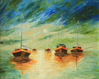 "ORIGINAL Oil Painting Modern Palette Knife Seascape  - Fishing On The Moon  20""x 16""x 1 1/2"""