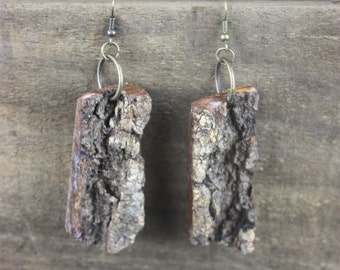 Oak Bark Rectangular Earrings