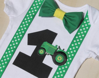 Tractor Birthday Outfit, Cake Smash Outfit, Baby Boy First Birthday Outfit