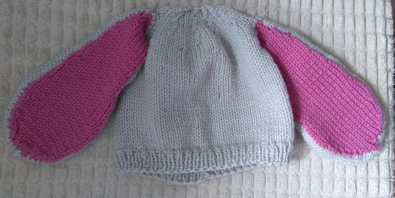 Knitting Pattern Rabbit Ears : Knitting pattern for bunny ears hat ladies and