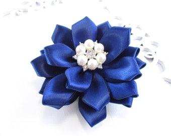 Navy Flower Hair Clip, Pearl or Rhinetone, Navy Wedding Flower, Wedding Flower Girl Bow, Bridesmaid Hair Clip, Navy Hair Clip