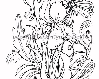 ADULT COLORING PAGE; Iris, butterfly, pen and ink, for older children too, garden,
