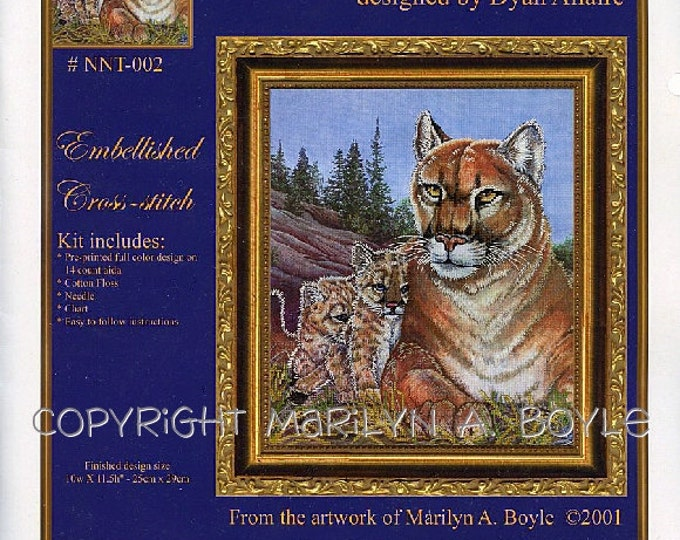 Cougar and cubs - EMBELLISHED CROSS STITCH Kit; wildlife, needlwork, wilderness, big cats, 10 x 11 finished size,