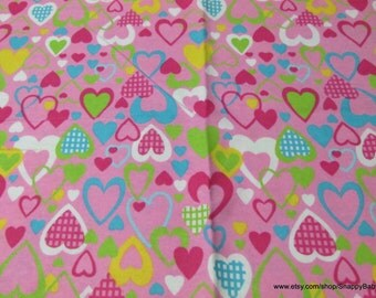 Flannel Fabric - All My Love Pink  - By the Yard - 100% Cotton Flannel