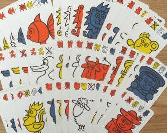 Vintage quartet cards, 10 x 6.5 cm, set of 36, craft materials, game parts