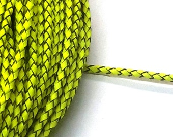 1 Metre x 3mm Neon Yellow Lime Braided Leather Cord