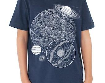 Night Sky Astronomy Glow in the Dark Youth T-Shirt | Vintage Star Chart, Smart Kid, Science Shirt, stars, girl science shirt