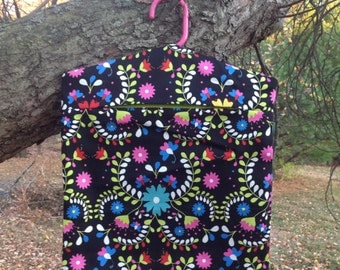 Clothes Pin Bag - Black with bright flowers