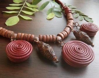 Boho Jewelery, Dark Сherry, Real Leather Jewelery, Wood Leather, Сherry necklace, Wooden Beads