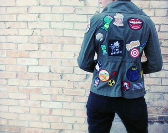 Army Green Patched Custom Upcycled Jacket, Women's Small
