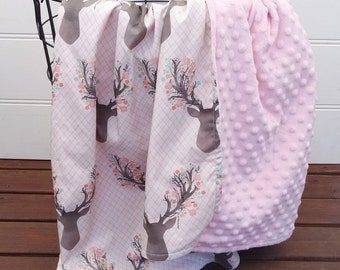 Baby Blanket with Pink Deer Head and Minky back