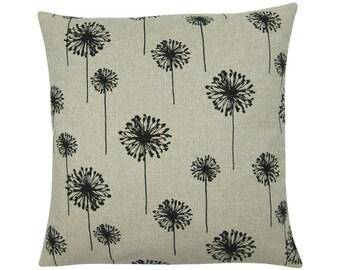 Pillowcase DANDELION beige black autumn flower canvas 50 x 50 cm