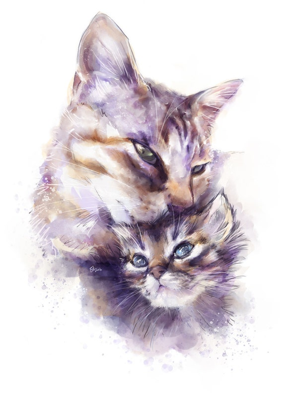 Watercolor painting of Nano and Zetta (for download)
