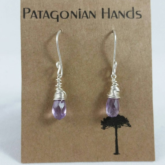 Handmade  Fine Silver (.999) and Sterling silver  earrings with wrapped Amathyst tear drop gemstone. Free shipping in the U. S.