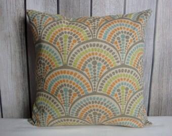Orange Pillow. Blue Pillow. Beige Pillow. Geometric Pillow.